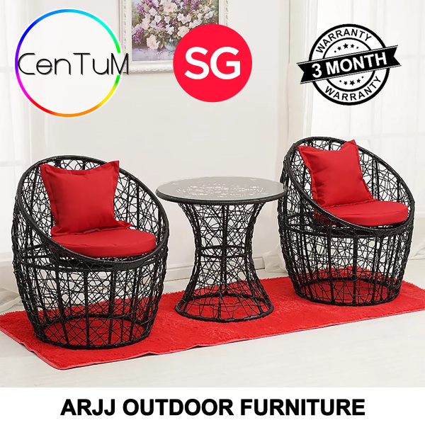 ARJJ Outdoor Coffee Table Chair Furniture Rattan Home Office Small Meeting Outdoor Indoor Waterproof Balcony Furniture Rattan Wicker Cane Material [Immediate Delivery]