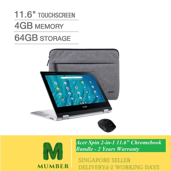Acer Spin 2-in-1 11.6 Chromebook Bundle - MediaTek MT8183C - Bonus Acer Wireless Mouse and Sleeve
