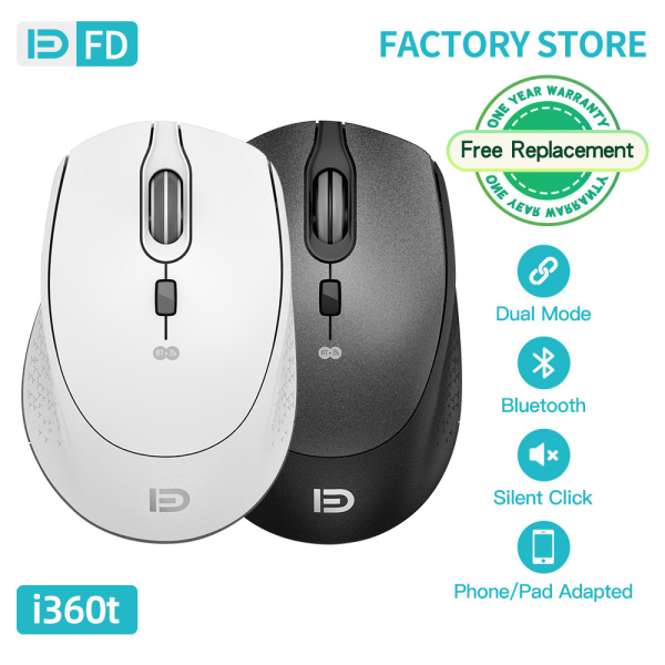 【Double Mode】FD I360t Silent Wireless Mouse 2.4GHz Two Bluetooth for iPhone12 mini/Pro/Pro Max 800/1200/1600DPI For Laptop Desktop PC Notebook Wonderful Hand Feeling