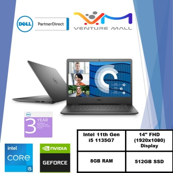 New 11th Gen (READY STOCK) New Vostro 14 3400- Intel® Core™ i5-1135G7/Windows 10 Pro/ MX330 2GB /8GB RAM/512GB SSD/Accent Black