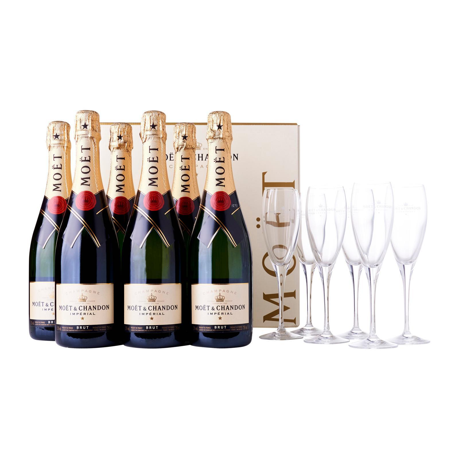 Moet & Chandon Brut Imperial Champagne - Case + 6 Free Glasses