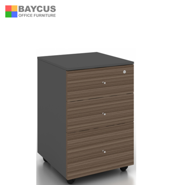 (Ready Stock Fully Installed) Mobile 3 Drawers (2 small and 1 big) with lock  Baycus Mobile Pedestal with 3 Drawers (Dark Brown) | Lock with 2 keys | Office Mobile Drawers with central locking system