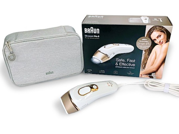 Buy Braun IPL Silk·expert Pro 5 PL5014 Latest Generation IPL 400,000 flashes, Permanent Visible Hair Removal, White and Gold, with Premium Pouch and Venus razor Singapore