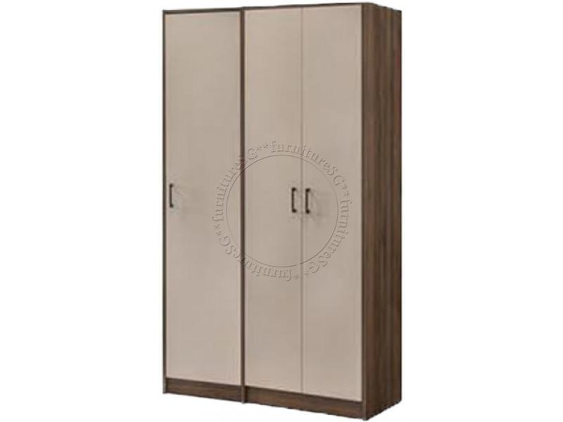 (FurnitureSG) 2 Tone 3-Door Wardrobe
