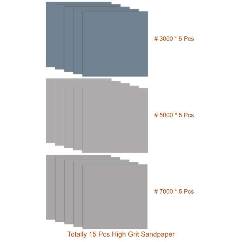 15 Pcs 9 X 11 Inch High Grit Wet And Dry Sandpaper Assortment 3000 5000 7000 For Car Auto Automotive Paint