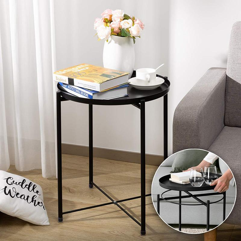 Detachable Metal Tray Nordic Style Coffee Table Bedside Nightstand Sofa End Table Small Round Side Tables