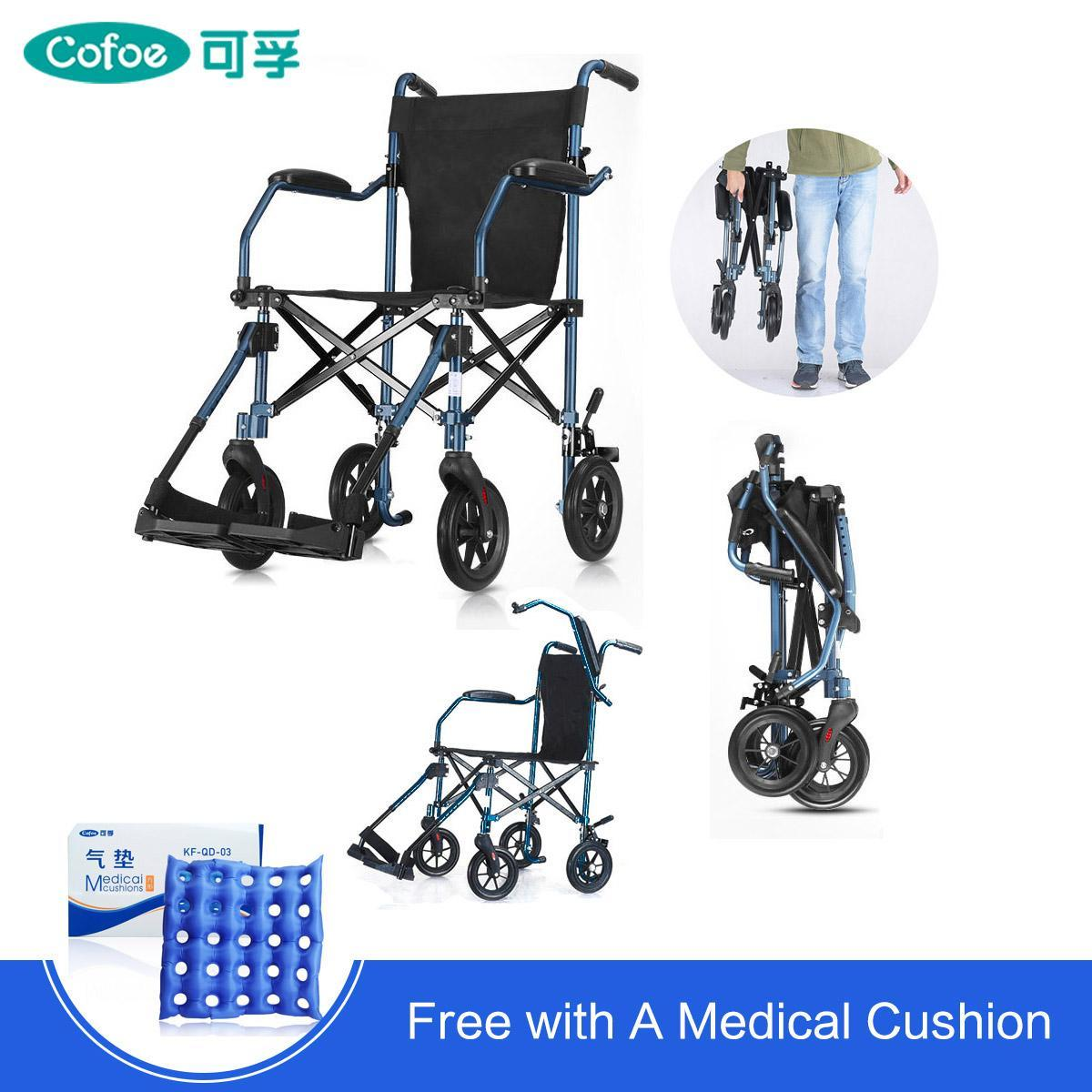 Cofoe Foldable Elderly WheelChair Aluminum Compact Lightweight Wheel Chair  with Foot board Removable Trolley Cart Travel Walker Rollator FREE
