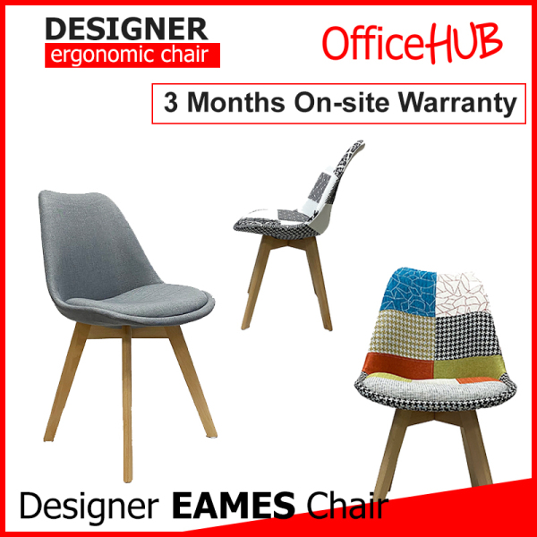 Designer Eames Fabric Cushion Pantry Chair PF-3004 ★ Cushion Seat ★ Living Room / Outdoor / Restaurant / Study Room / Office ★ Solid Wood Legs / Prevent Flooring Scratches ★ Durable ★ Many Colours
