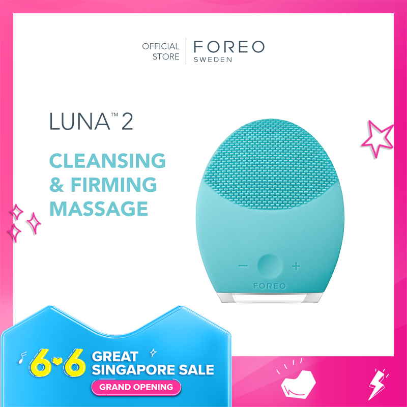 Buy FOREO LUNA 2 for Oily Skin Facial Cleansing & Firming Face Massage Brush, Ultra-hygienic Silicone [Rechargeable 450 uses/charge, 2-Year Warranty] Singapore