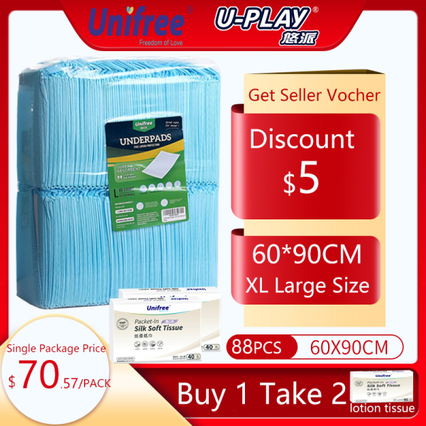 Buy Unifree XL Large size 60CM*90CM 88PCS Adult Underpads Adult diapers Blue elderly incontinence/maternity/Bed/Pee pads Premium Quality and High Absorbency Singapore