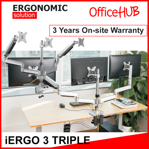 iErgo 3 Triple Monitor Arm ★ Fits Monitor Screens From 17 Inch To 27 Inch per arm ★ Max Weight 9 KG per monitor ★ VESA Mount ★ Height Adjustable ★ Clamp Grommet Mount To Desk ★ Monitor Mount ★ Monitor Stand ★ Ergonomic ★ Ergonomic Stand