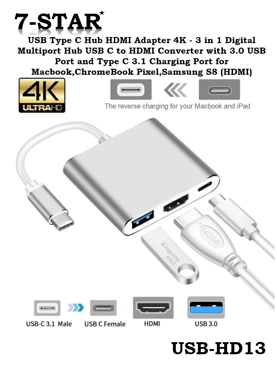 [SG Local Seller] USB Type C Hub HDMI Adapter 4K - 3 in 1 Digital Multiport Hub USB C to HDMI Converter with 3.0 USB Port and Type C 3.1 Charging Port for Macbook,ChromeBook Pixel,Samsung S8 (HDMI)
