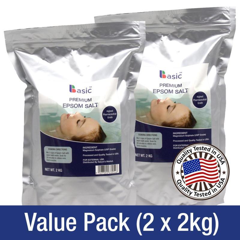 Buy BASIC Premium Pure Epsom Salt 2kg (Pack of 2) Singapore
