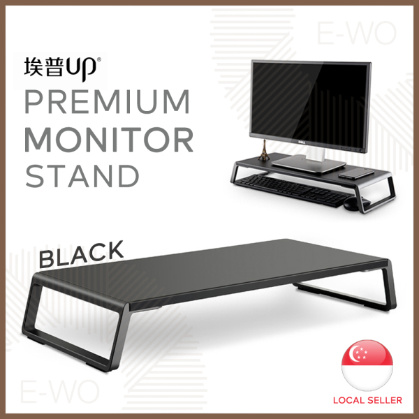 Premium Monitor Stand, Laptop or TV Riser, Desktop Organizer Shelving, Aluminum Alloy with Timber Texture Lamination Board, Simple and Slim Design, 3 Timber Color Selections.