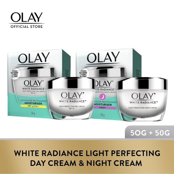 Buy [Bundle of 2] Olay White Radiance Light Perfecting Day Cream SPF 24 + Night Cream 50g Singapore