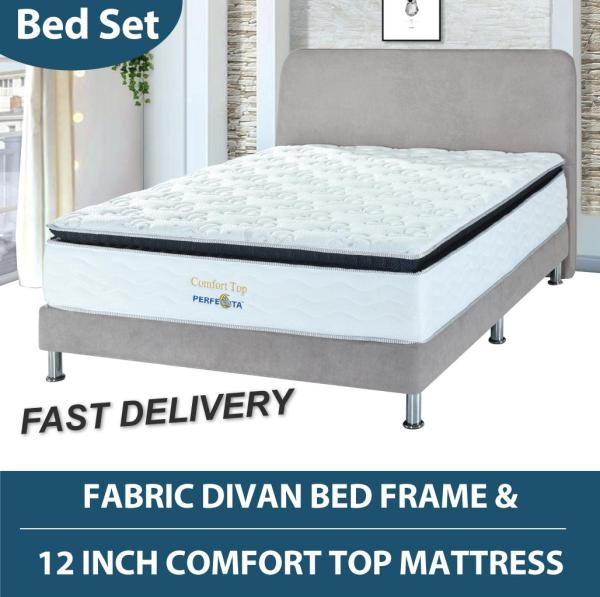 12 inch Comfort Top mattress with Fabric Divan Bed Frame * Fast Delivery * Free Delivery and Installation