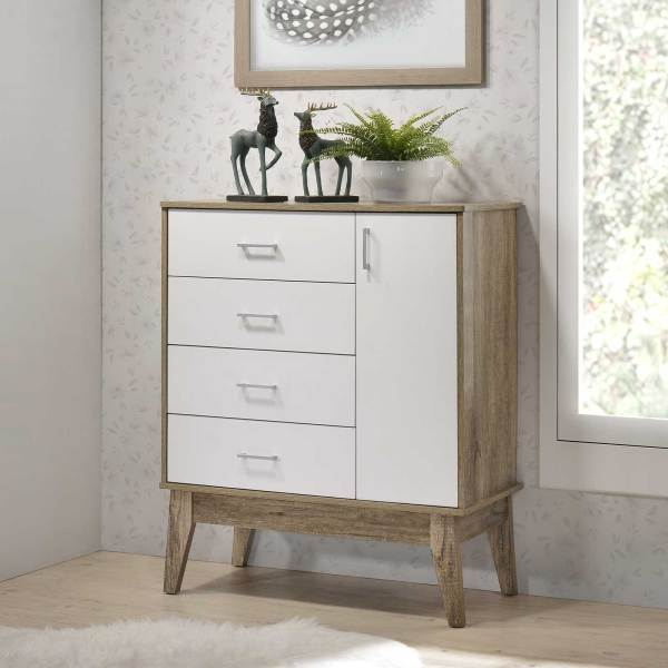Scandinavian Chest of Drawers (Free Installation + Delivery) with 1 Door and 4 Drawers Cabinet Storage Tallboy Bedroom⭐E-LIVING Furniture