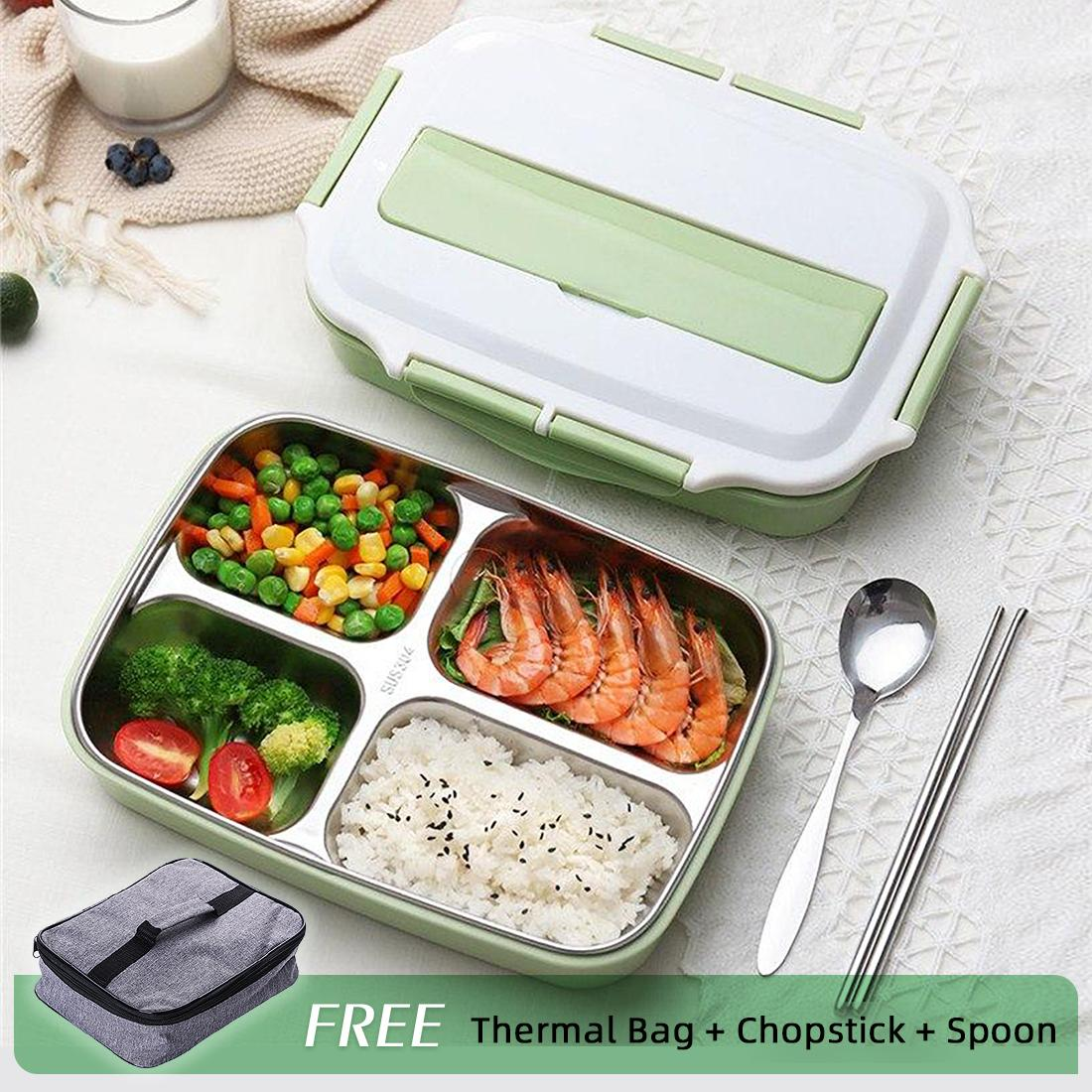a6dbb55f36d6 Thermal Lunch Box With Bag Set Stainless Steel Kid Adult Bento Boxs  Leakproof Japanese Food Container Portable Picnic Storage