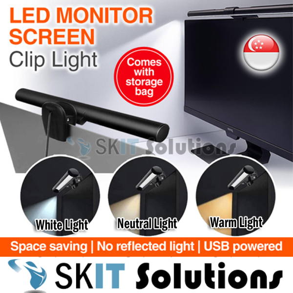 26cm / 40cm Adjustable LED Laptop Monitor Smart Screen Clip Hanging Light USB Desktop e-Reading Table Lamp Bar, Dimmable Eye Protect No Glare USB Powered Clip On with Remote Control, Adjustable Light brightness, Choice of White / Neutral / Warm Light