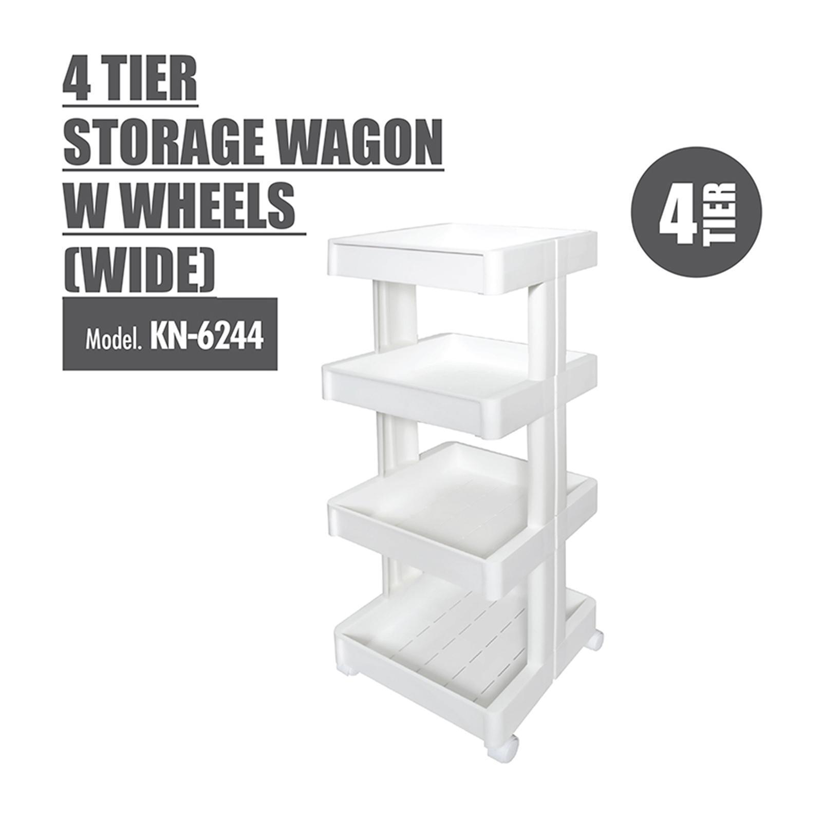 HOUZE 4 Tier Storage Wagon With Wheels (Wide)