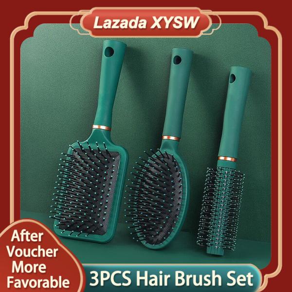 Buy 3 PCS Hair Brush and Comb Set Round Brush Massage Paddle Brush Detangle Hair Brush Cushion Hair Combs Wet Dry Brush for Women Men Hair Styling Singapore