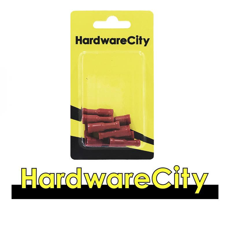 HardwareCity Fully Insulated Female Crimp, Button Connectors, Red (22AWG - 16AWG), 10PC/Pack
