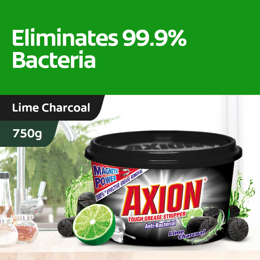 [eliminates 99.9% Bacteria] Axion Lime Charcoal  Dishpaste 750g.