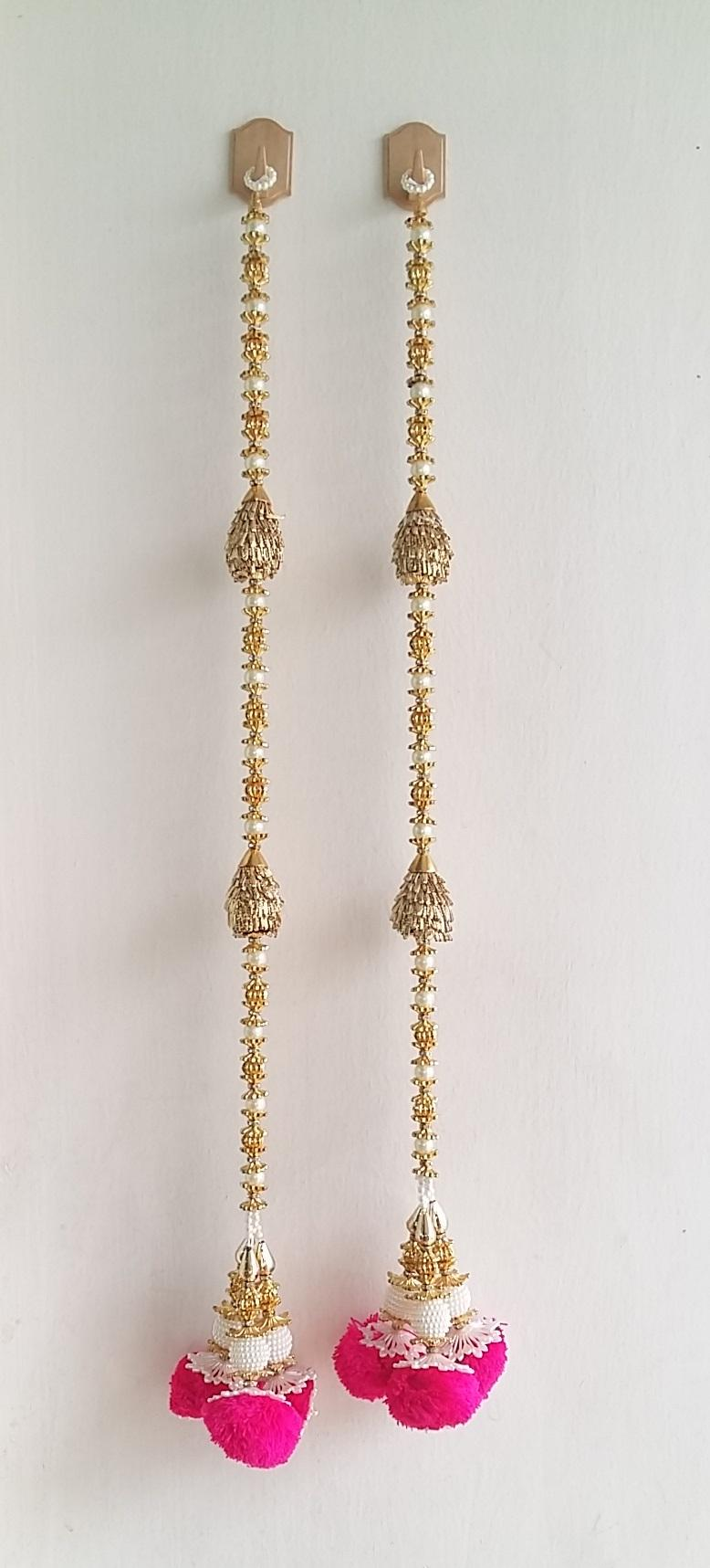 Door Hanging Toran Indian Decorative Hanging With Large Cream Pearls Golden Leaves & Pink Flower