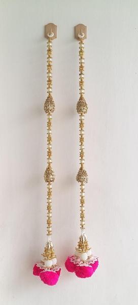 Door Hanging Toran Indian Decorative Hanging With Large Cream Pearls Golden Leaves & Pink Flower