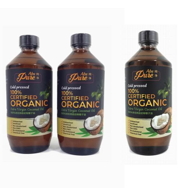 Buy [OFFER FREE 1 TOTAL 3 x 500ML] [Fresh Exp 08/2022] Absolutely Pure Unrefined Extra Virgin Coconut Oil 100% Certified Organic Singapore