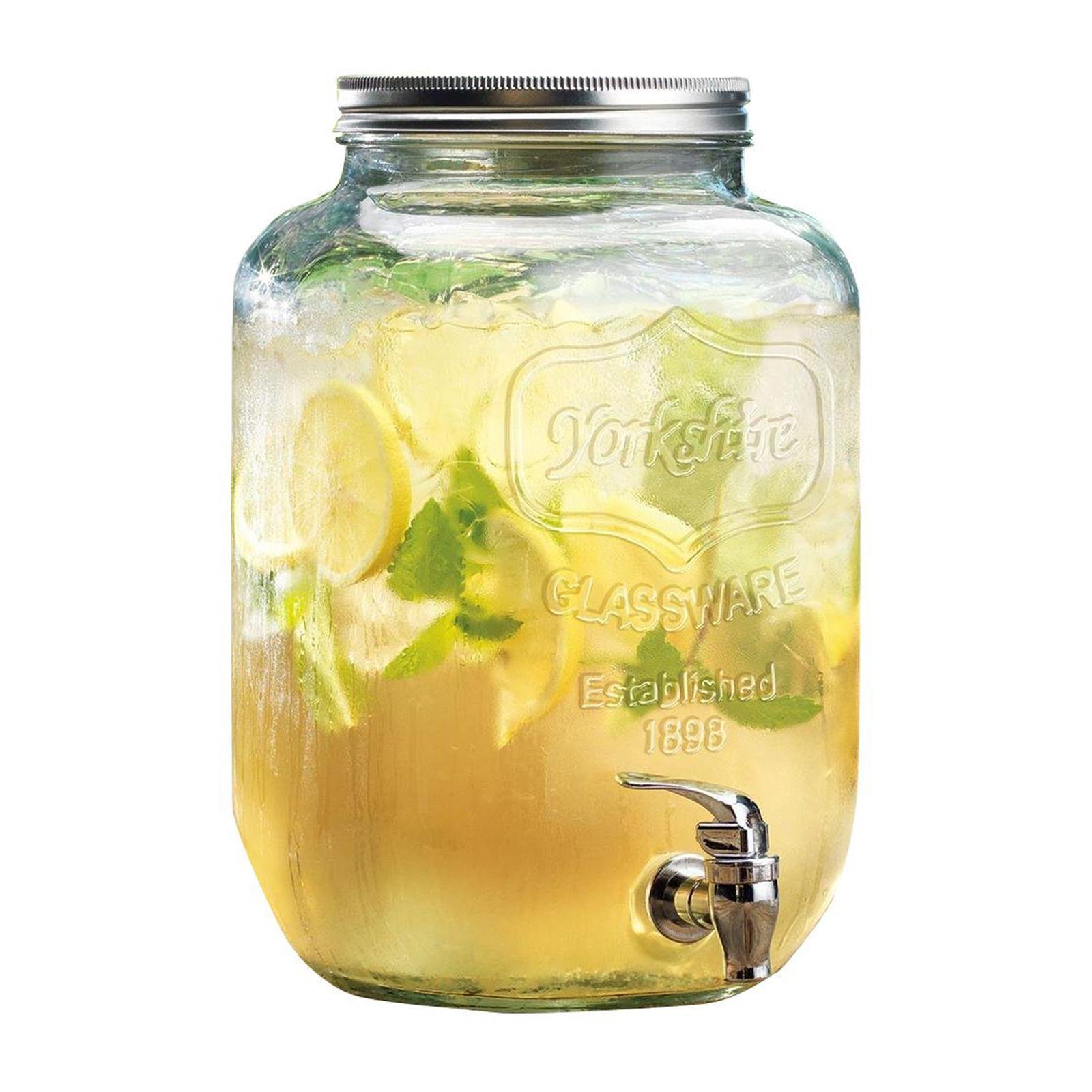 Yorkshire Mason Jar Glass Beverage Drink Dispenser With Metal Lid - 4.5L