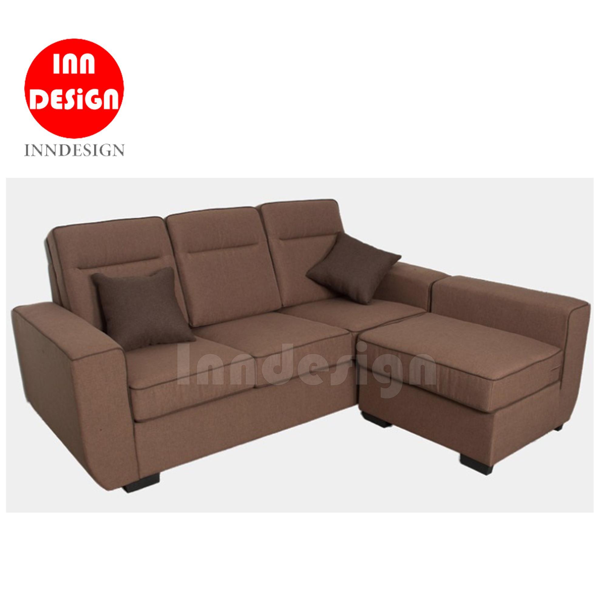 Elton 3 Seater L Shape Sofa (Dark Brown)