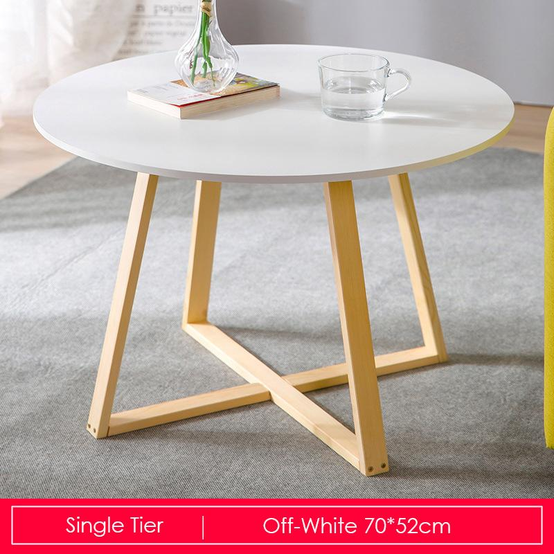 White Round Coffee Table With Wooden Base-70cm