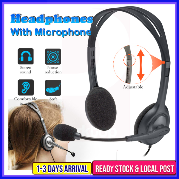Logitech H111 Wired Headset Stereo Headphones Noise-Cancelling Microphone Earphone PC/Mac/Laptop Headphone Rotating MIC Singapore
