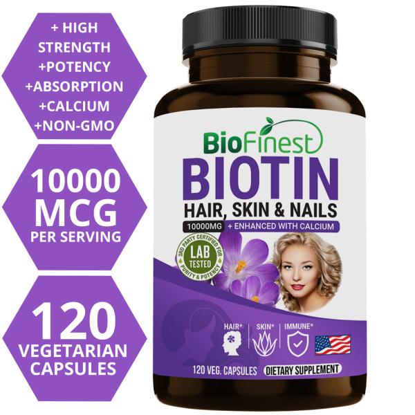 Buy Biofinest Biotin 10000mcg with Calcium - 3x Calcium Enhanced Absorption - Vitamin Collagen for Heart Brain Skin Hair Nail Beauty Bone Teeth Immune Health - Made in USA (120 Veg. Capsules) Singapore