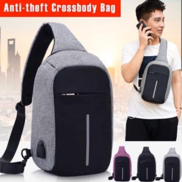 Anti Theft Usb Charging Cross Body Sling Bag