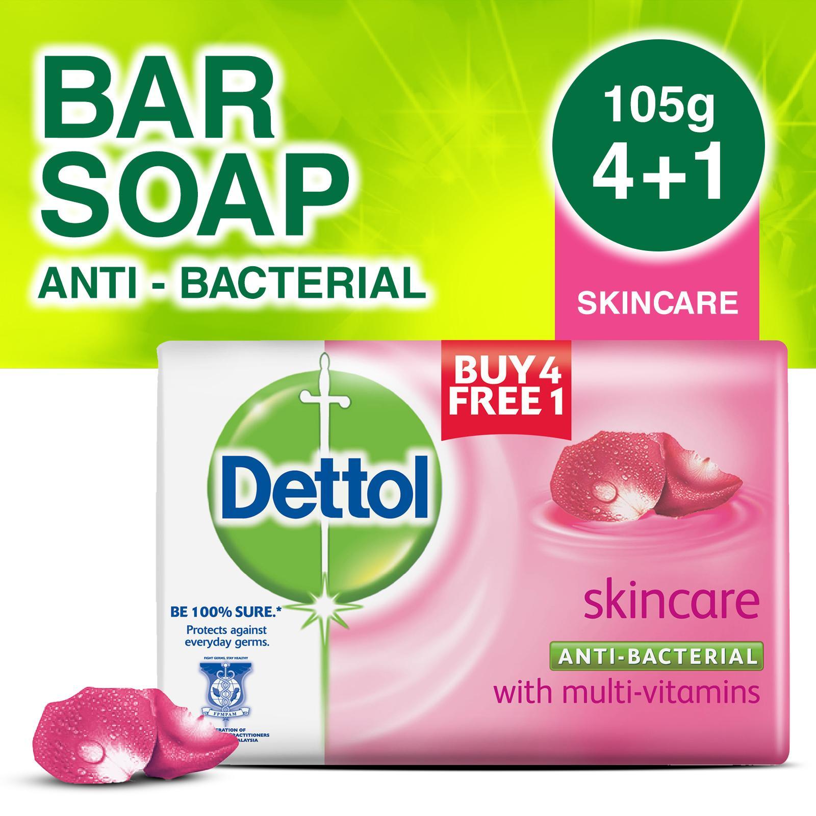 4+1 free Dettol Anti-Bacterial Bar Soap Skincare 105G