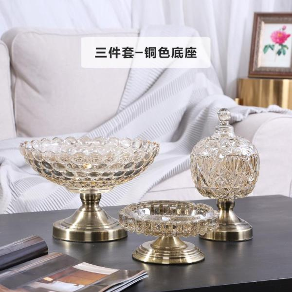 European Style Living Room Teapoy Table Crystal Glass Fruit Plate Three-piece Set a American HYUNDAI Household Top Grade Luxury Decorations And Ornaments