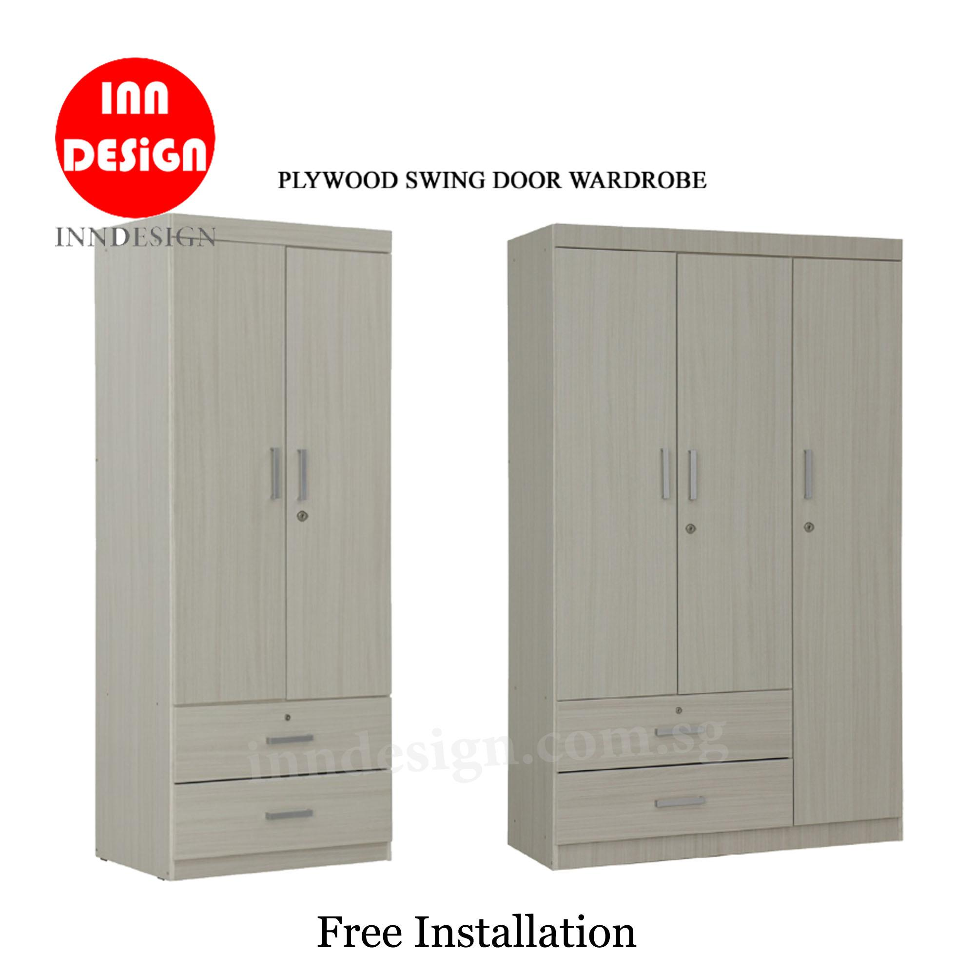 Orine 2/3 Doors Plywood Wardrobe (Free Installation and Delivery)