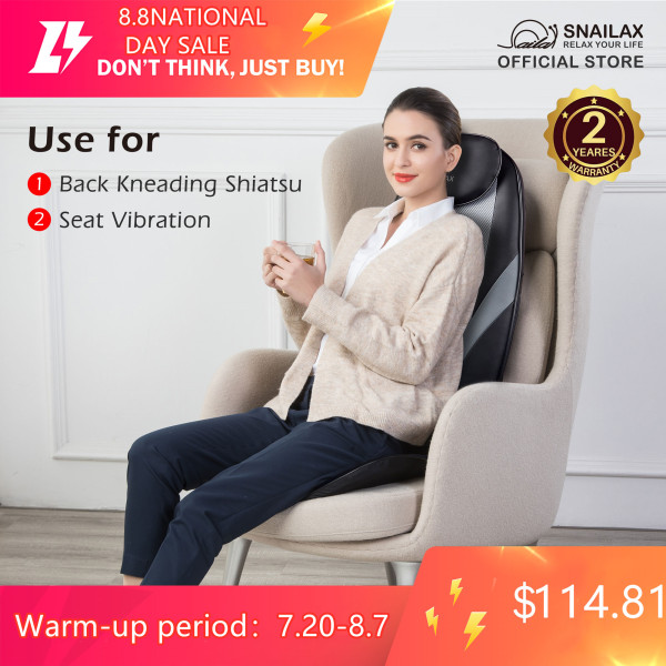 Buy [FREE SHIPPING] SL-256 Snailax Shiatsu Massage Cushion with Heat Massage Chair Pad Kneading Back Massager for Home Office Seat use | 2 Yrs Warranty | Singapore