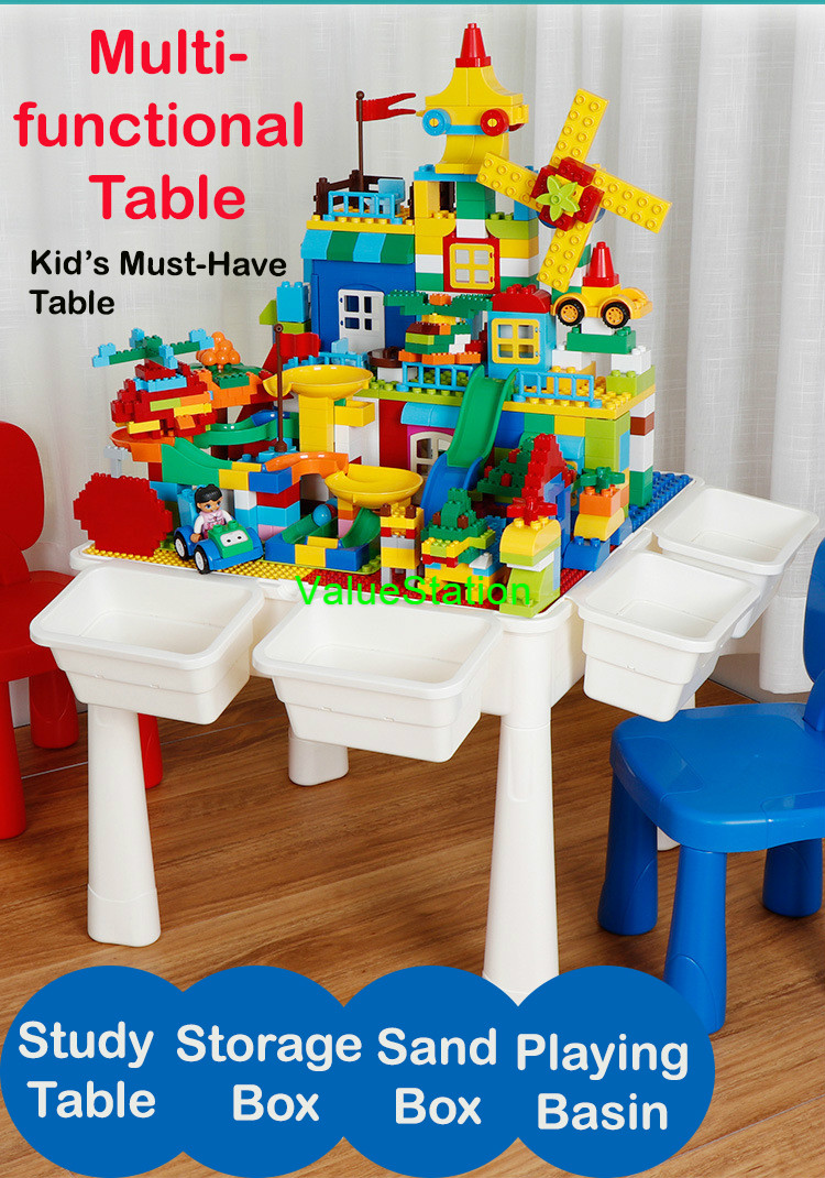 Multifunctional PP Plastic Children Desk Building Blocks Assembled Learning Table And Chair With Storage Box Panel Non-Slip Mat Waterproof Plug Increase Leg Study Tables For Kids Playing Bricks Toys Educational Enlighten Stable Furniture Sets