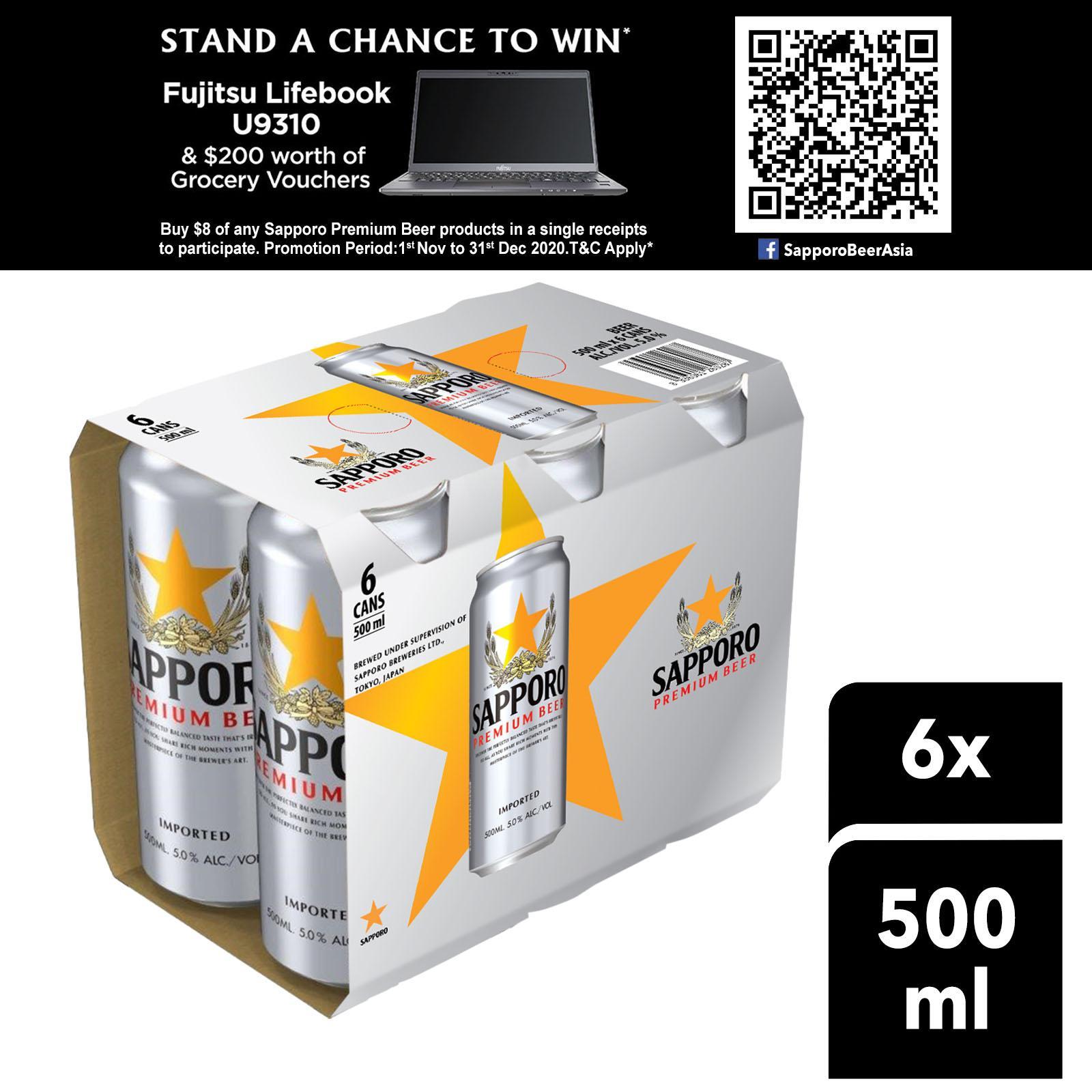 Sapporo Premium Draft Beer (6 x 500ml)