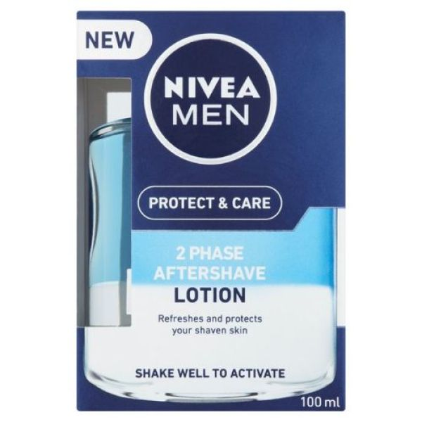 Buy Nivea Men Protect & Care 2 Phase Aftershave Lotion, 100ml- Refreshes & Protects Shaven Skin Singapore