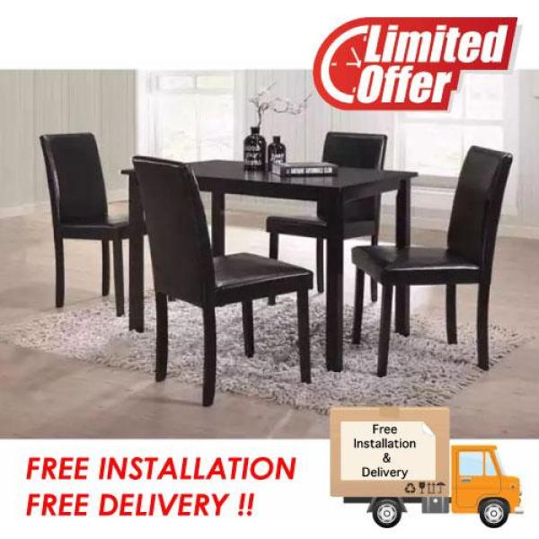 [Furniture Amart] Solid Wooden Dining Set Table Chair PVC Cushion