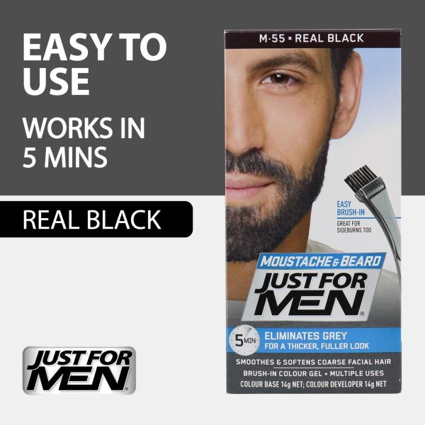 Buy Just For Men Brush-In Color Gel for Moustache, Beard and Sideburns - Real Black Singapore