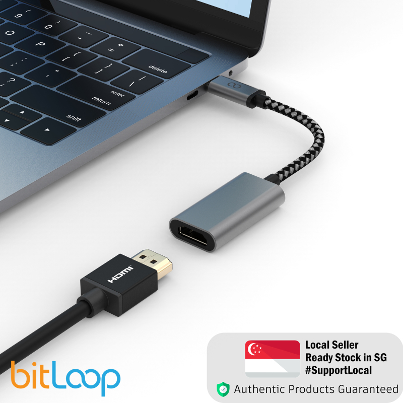 BitLoop USB C to HDMI Adapter - HDMI 4K 30Hz port With Wide Compatibility Type-C Device To External Monitor or TV - Braided Durable Cable - For MacOS, Windows, Android, iOs
