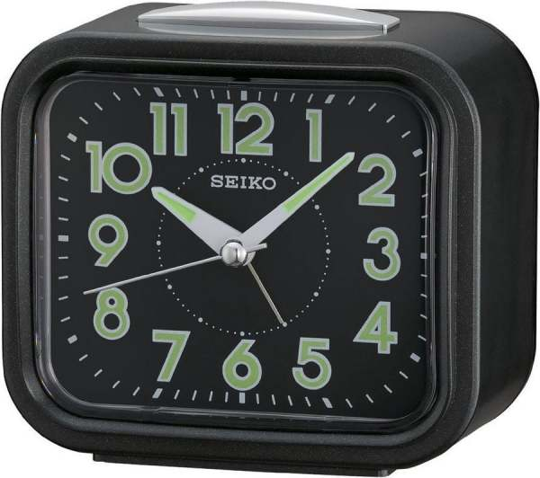 Seiko QHK023J QHK023JN Lumibrite Black Dial Table Alarm Clock