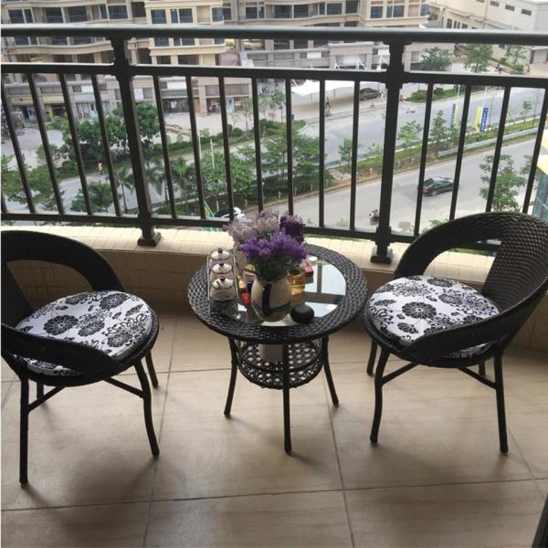 Outdoor Balcony Rattan Coffee Table + Chairs Free Cushion + Seat Pad + Free Shipping Leisure  Set