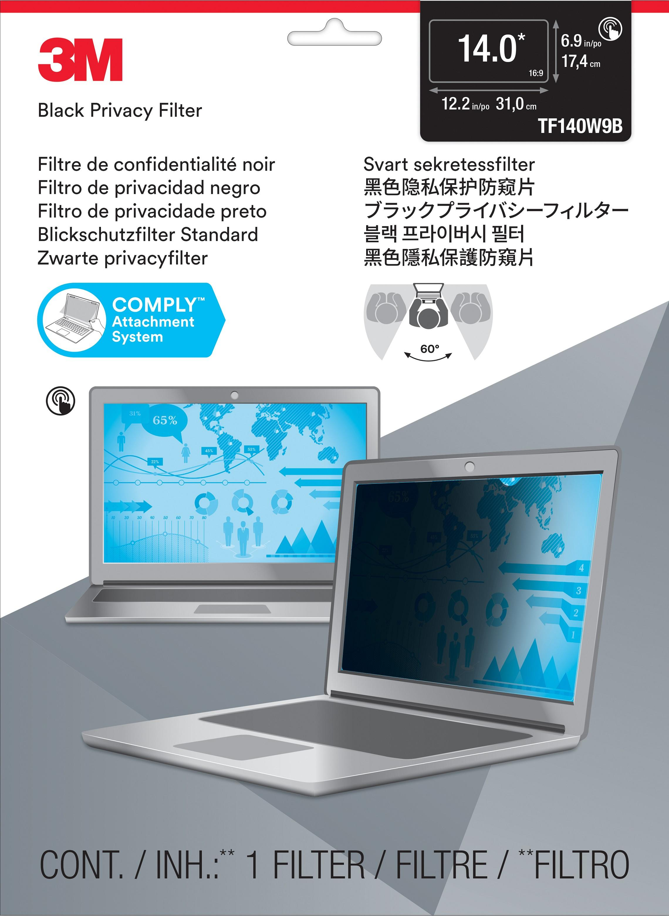 3M™ Touch Privacy Filter for 14.0 Widescreen Laptop (16:9) - Standard Fit (TF140W9B) - 310-mm x 175-mm