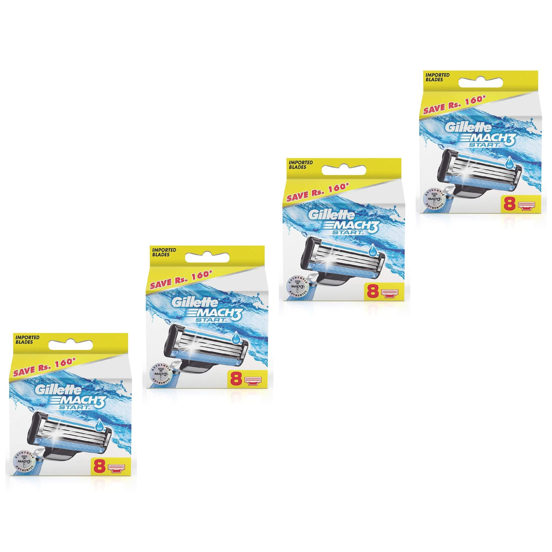 Gillette Mach3 Start Cartridges Pack Of 8 X 4 (32 Cartridges) – Newly Introduced By K And K Impex.